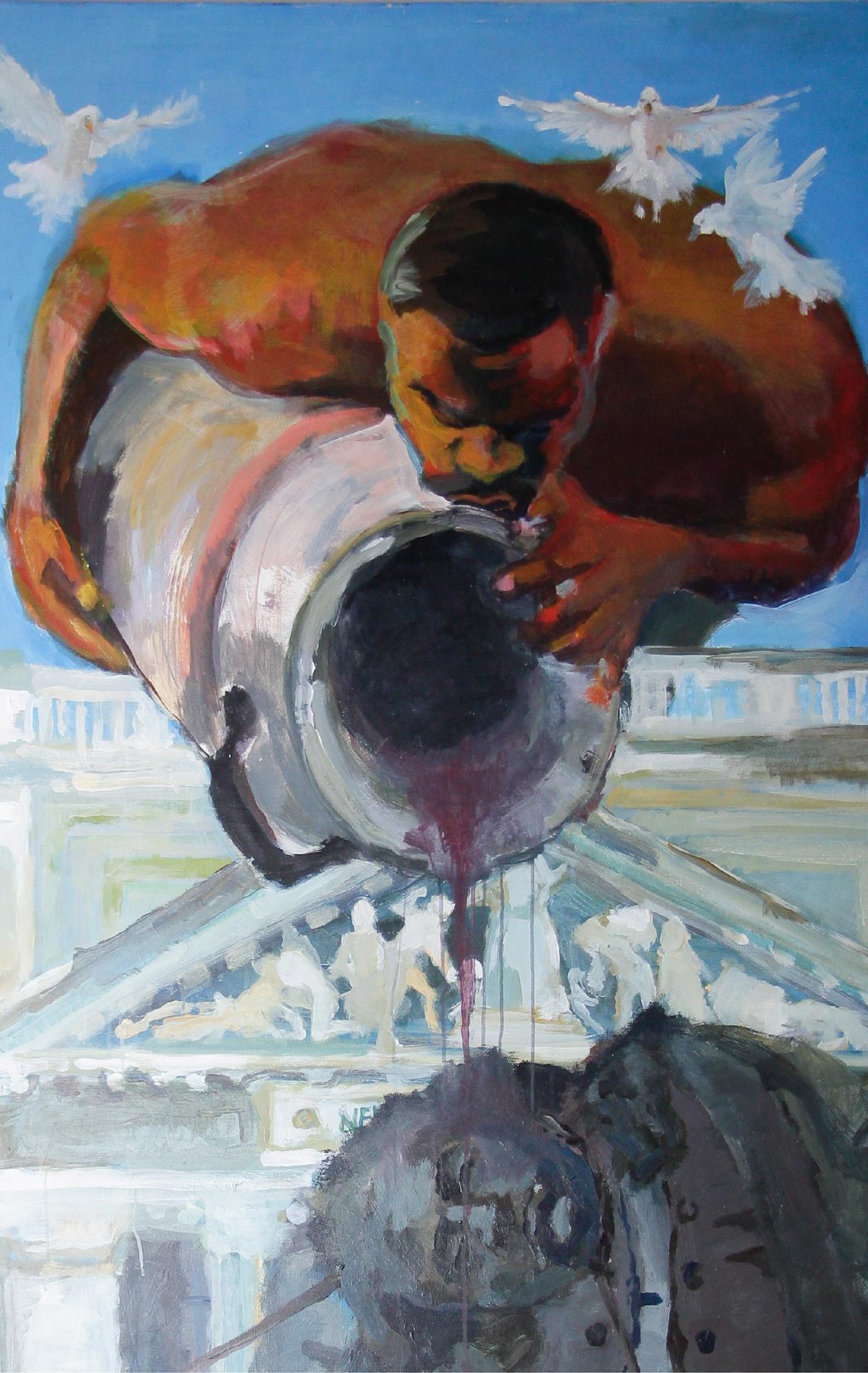 photograph of art student Emmanuel Oluwaseyi Bamtefa's painting
