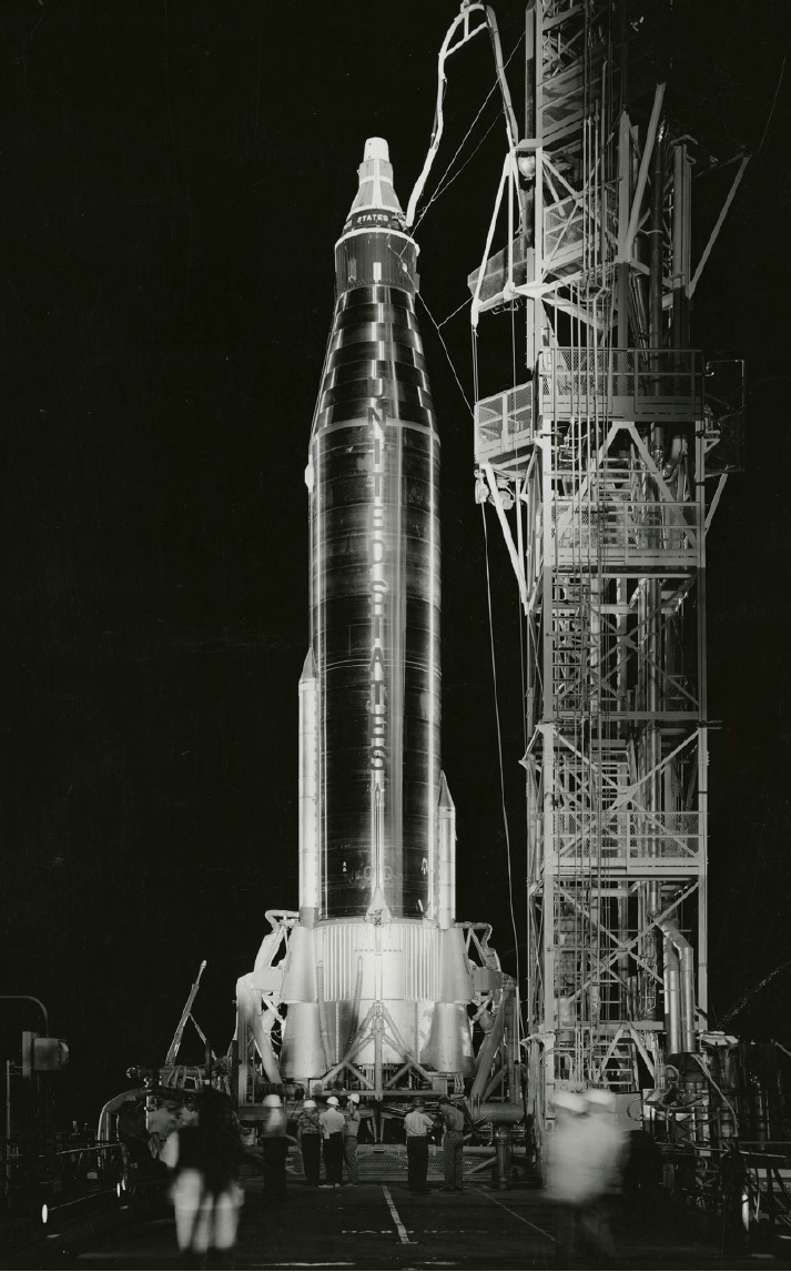 photograph of NASA rocket