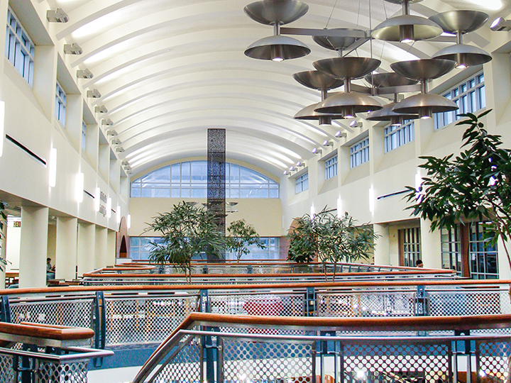 third floor atrium of MD Anderson Library