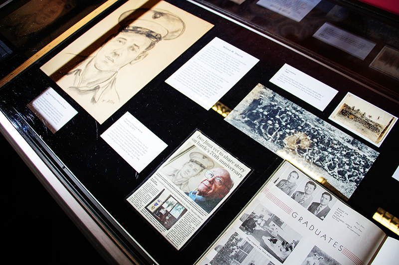 Bill Sherrill's personal  documents in an exhibit case