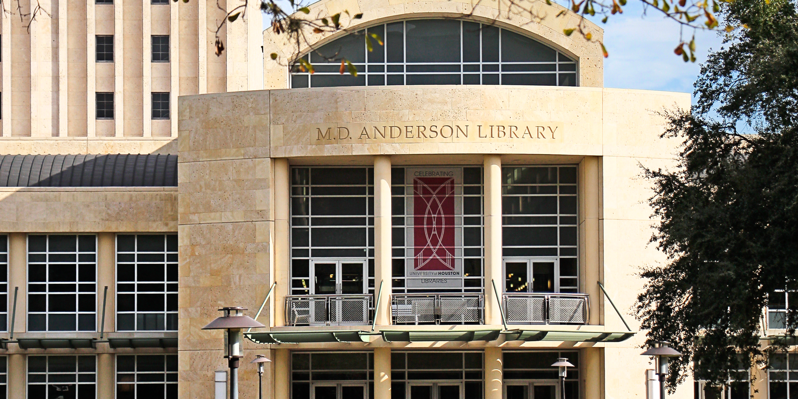 outside photograph of the front and entry of MD Anderson Library