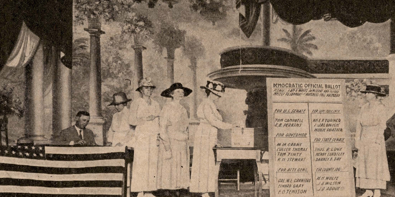 newspaper photo of suffrage era voting of women placing ballots in ballot box