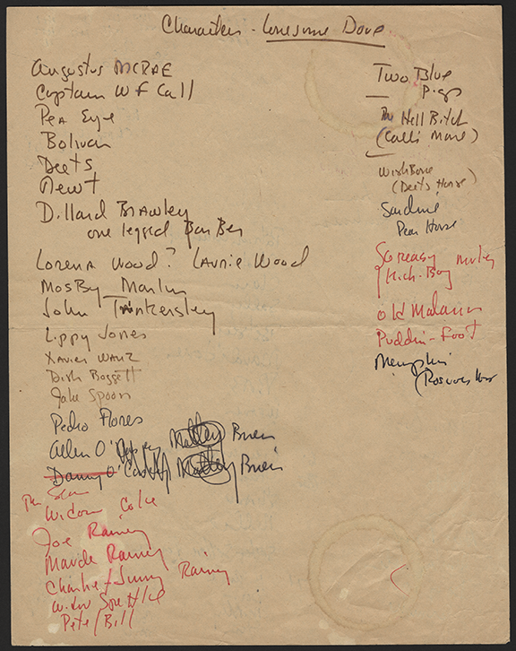photo of handwritten notes and a character list from Lonesome Dove