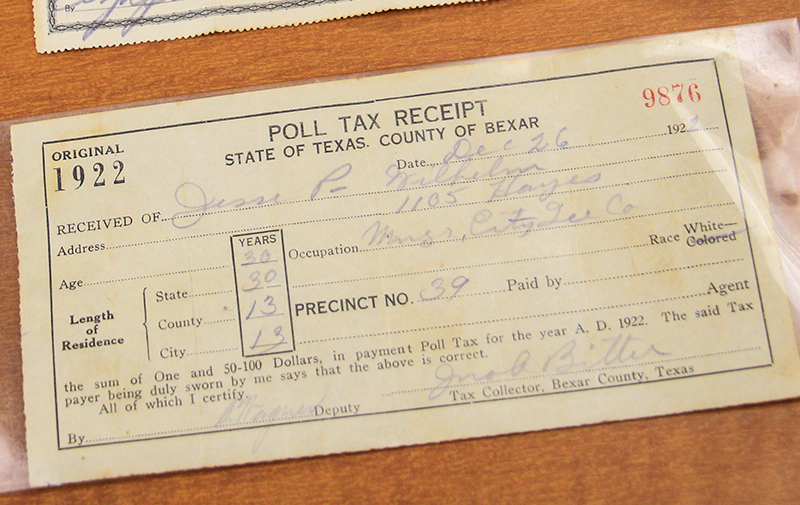 photo of a tax receipt from Nancy Sims Papers Collection