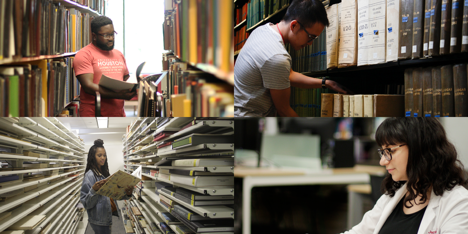 image collage of students performing research at each UH Library