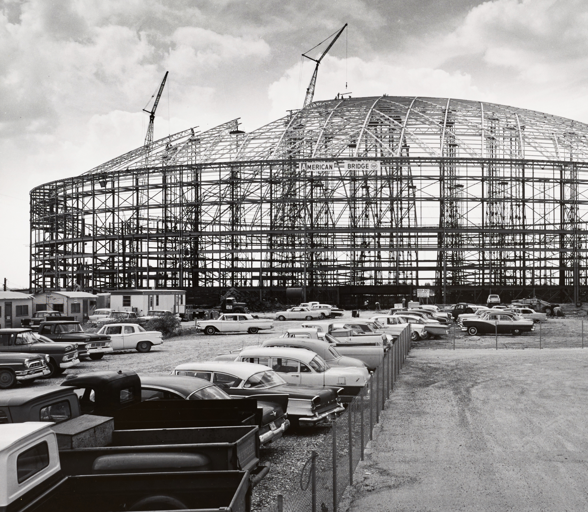 black and white image of astrodome under construction