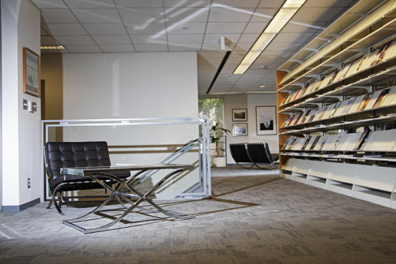 couch and study table in Jenkins Architecture and Art Library