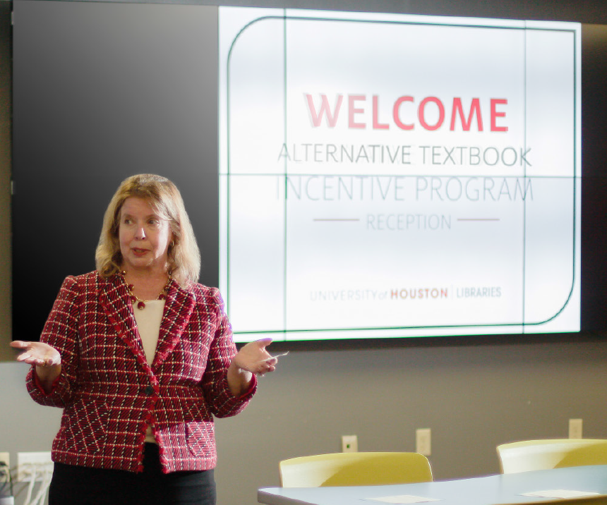 Dean German speaking at Alternative Textbook Incentive Program Reception