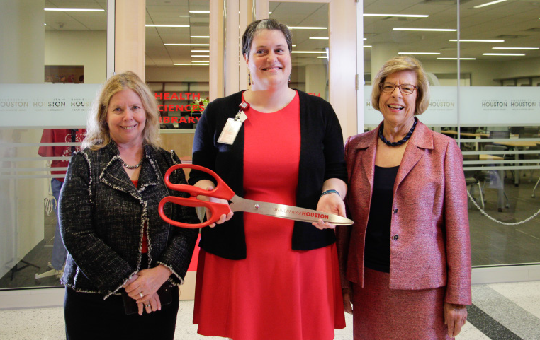 Dean German, Director of Library Services for the Health Sciences Rachel Helbing, and Dean Marilyn Myers