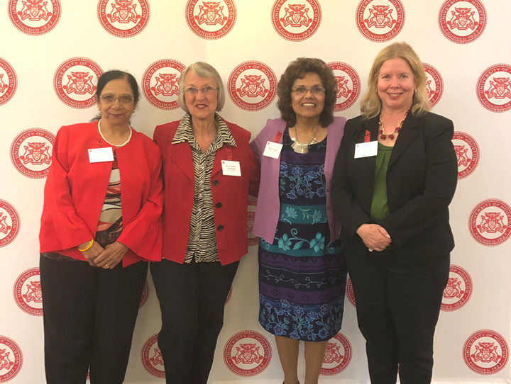 Dean of Libraries Lisa German (right) with UH Libraries staff recognized for service longevity at the UH Staff Excellence Reception. From left: Jyoti Vyas, Renee Fiorini-McManus, and Nelda Cervantes.