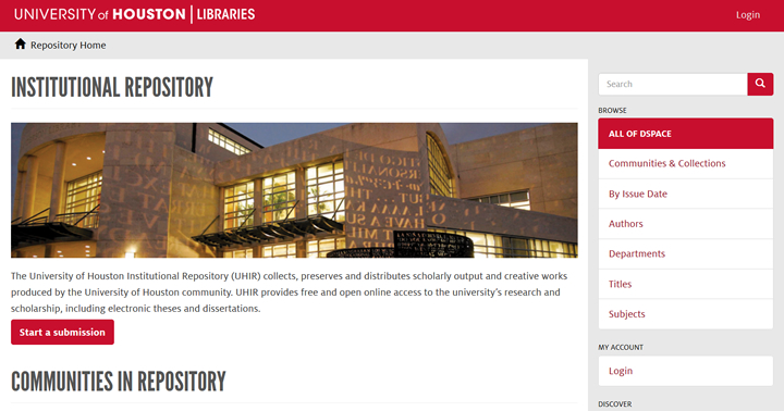 The University of Houston Institutional Repository (UHIR) collects, preserves and distributes scholarly output and creative works produced by the University of Houston community.