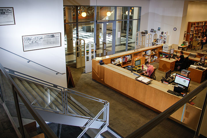 Interior view of the Architecture, Design, and Art Library, located in the Gerald D. Hines College of Architecture and Design