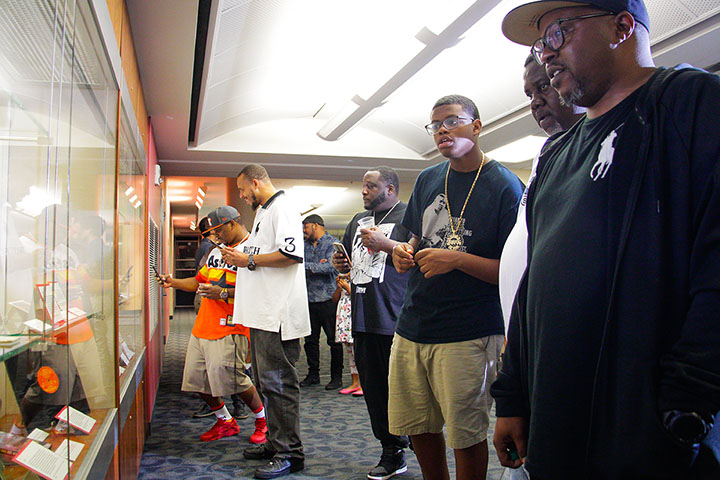 "Opening reception for the exhibit ""Brothers in Rhyme: Fat Pat, Big Hawk, and the Screwed Up Click"" at University of Houston Libraries"
