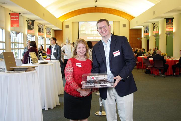 Dean of Libraries Lisa German with Joe Duff of TPC Group