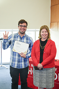 Student Achievement award winner Manuel Gutierrez with dean Lisa German