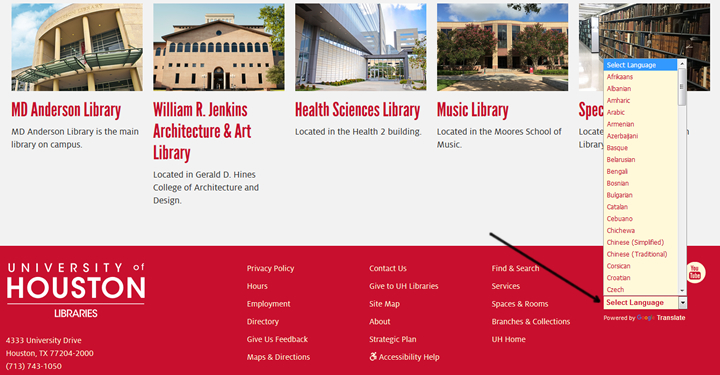 UH Libraries website can now be translated into multiple languages.
