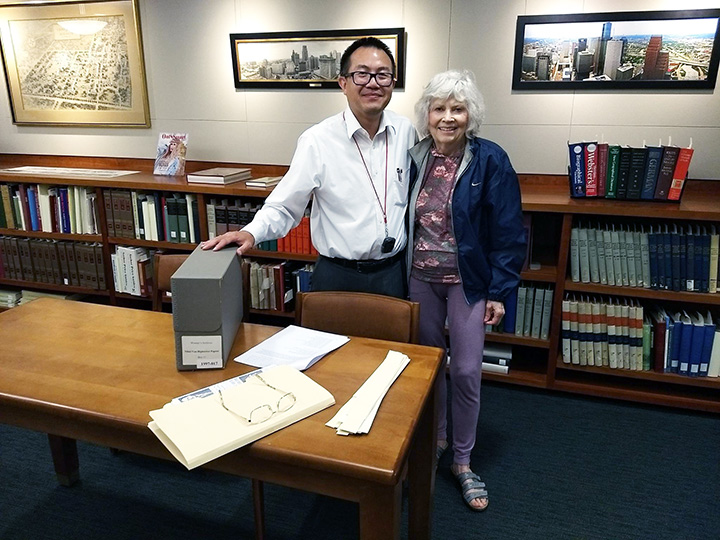 Nikki Van Hightower with Vince Lee, archivist for the Carey Shuart Women's Research Collection at UH Special Collections